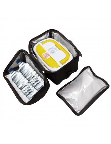 Borsa Termica capacità 8 litri con tracolla: dimensioni 22 x 16 x 22,5 cm Scaldavivande Amarillo inox con vaschetta 3 sc
