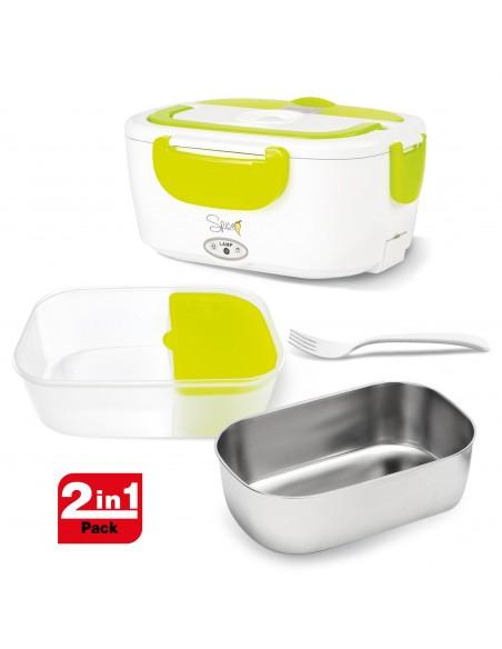 2 Vaschette estraibili in Acciaio Inox e plastica per alimenti 40 W di potenza Cavo incluso 80 cm - Forchetta inclusa Va