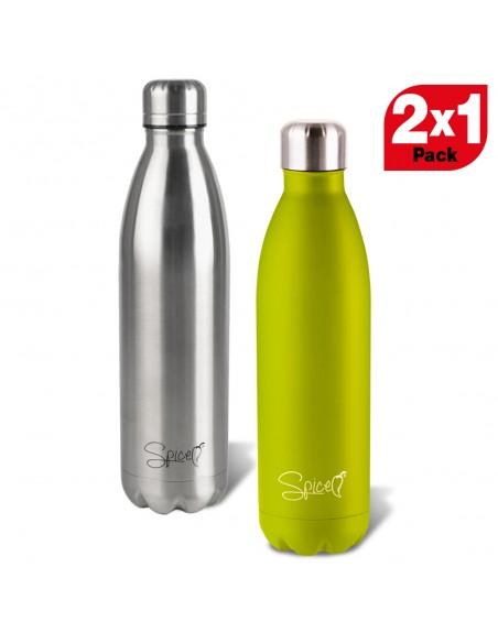 2 Bottiglie 500 + 500 ml in Acciaio inossidabile di qualità: le bottiglie SPICE sono in acciaio inossidabile 18/8, prive