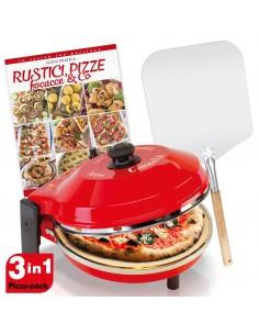 FORNO PIZZA + PIETRA REFRATTARIA DIAMETRO 32 CM POTENZA 1200 W 400 GRADI RESISTENZA CIRCOLARE - CALOTTA ACCIAIO INOX PAL