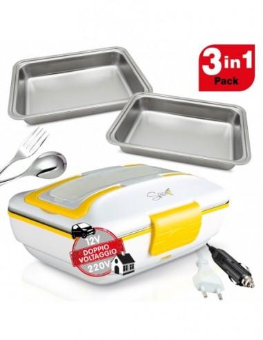 Doppio Voltaggio 220 - 12 V - Doppia alimentazione 2 Vaschette da 1 Litro ognuna Guarnizione rimovibile per una migliore