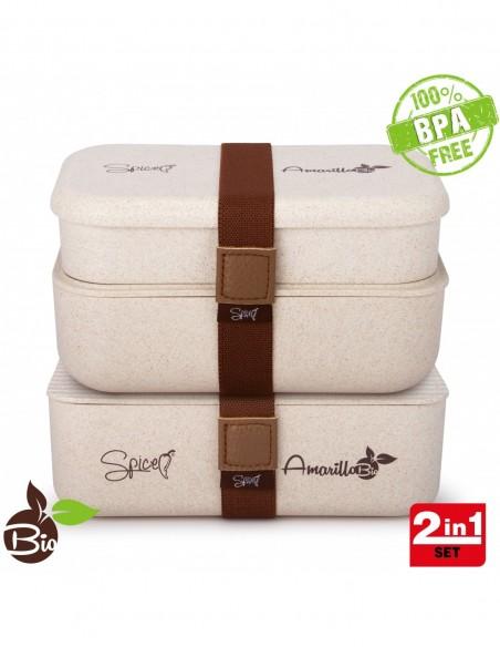 Spice Amarillo Bio Trio Set 2 Bento Box Portatile Materiale Ecologi... -