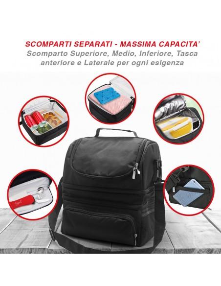 Spice Borsa Termica capacità 22 L con Tracolla Porta Pranzo + Botti... -